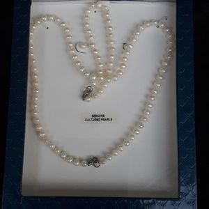 Jewelry - Pearl Necklace,and Earrings Set Sterling silver